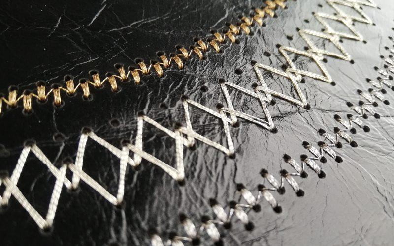 Fil'ing broderie cuir perforé perforation fils métallique